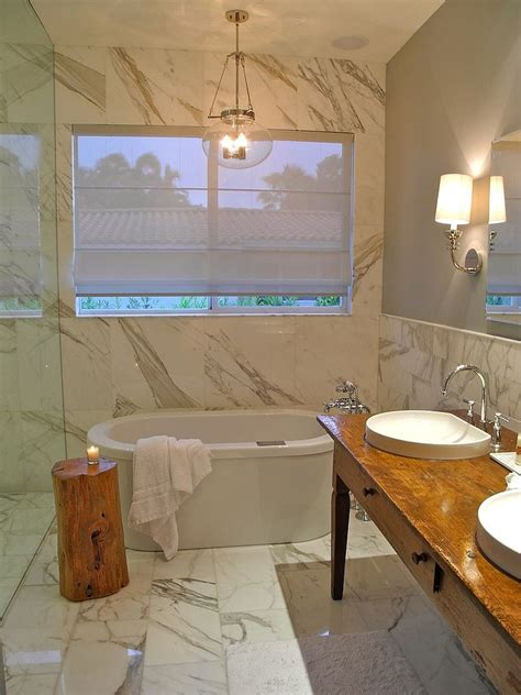 Freestanding Bath Shower Curtain little luxury 30 bathrooms that delight with a side table