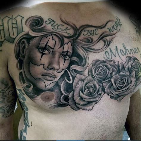 new school tattoo writing new school style colored chest tattoo of woman with roses
