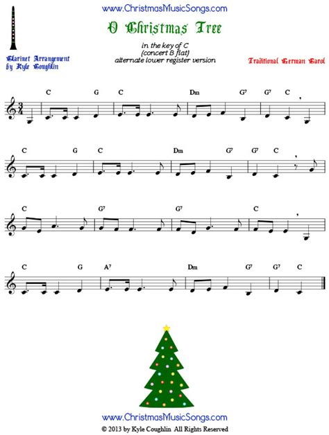 o christmas tree for clarinet free sheet music