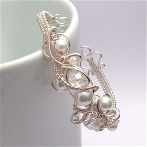 Handmade Wedding Jewellery Uk - and pearl wire weave bridal cuff bracelet