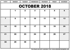 Calendar 2018 Printable October 2018 Calendar Template
