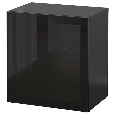 besta 60x40x64 best 197 shelf unit with glass door black brown glassvik