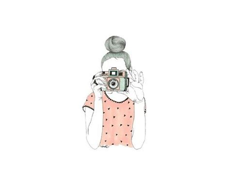 wallpaper cute drawing camera cute draw girl one overlay photography pink