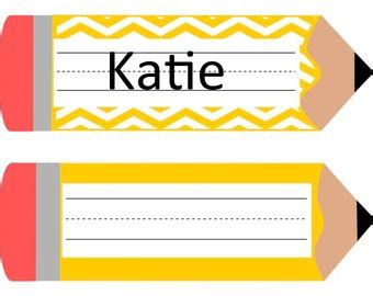 Pencil Name Tag Etsy Pencil Label Template