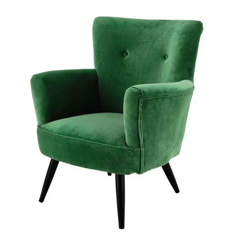 Velvet armchair in green Sao Paulo   Maisons du Monde