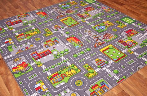 Car Rug Extra Small Colourful Kids Play Village Rug Fun City Road