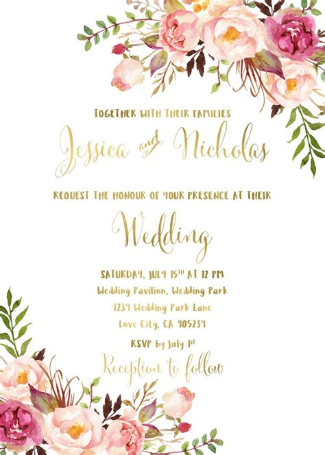 wedding invitation card suite with flower templates floral wedding invitation suite printable boho wedding