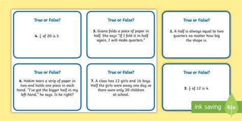 true or false cards template year 1 fractions true or false challenge cards