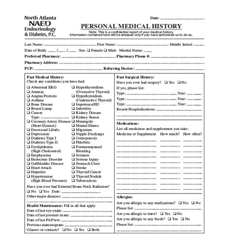Medical History Report Template