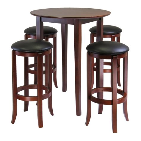 bar stools tables winsome fiona round 5pc high pub table set with pvc stools