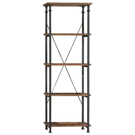 metal and wood bookcase trent home factory wood and metal bookcase in rustic brown