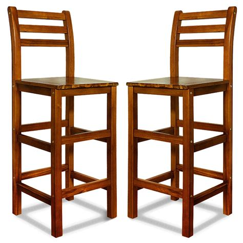 breakfast bar stools with backs wooden bar stool set kitchen breakfast back rest 2x