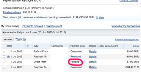 ebay your payment is pending paypal payment status remains quot pending quot stack overflow