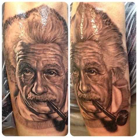 einstein tattoo albert einstein portrait by steve wimmer tattoonow