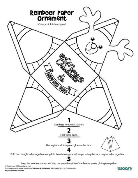 christmas arts and crafts printables reindeer paper craft ornament woo jr activities