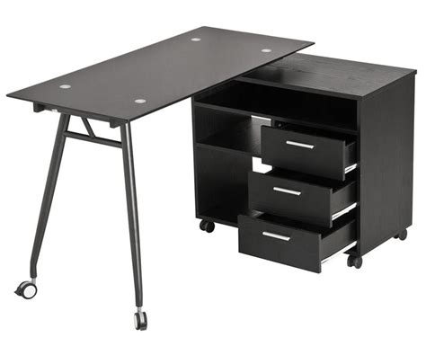folding l shaped desk l shape black glass portable office desk computer pc