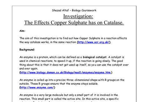 Research Papers On Chitin Degrading Enzymes by Biology Coursework Enzymes