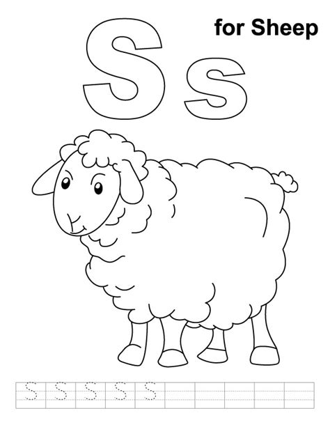 S For Sheep Coloring Page With Handwriting Practice Sheep Coloring Pages Preschool
