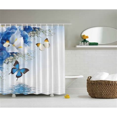 shower curtain long 84 inches blue white wild flowers monarch butterflies shower curtain