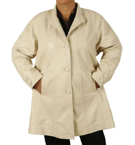 plus size swing coat plus size 22 24 3 4 length ivory leather swing coat from
