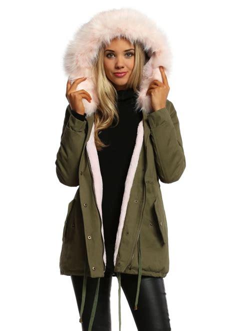 Jaket Coat Trendy s faux fur parka hooded baby pink faux fur parka