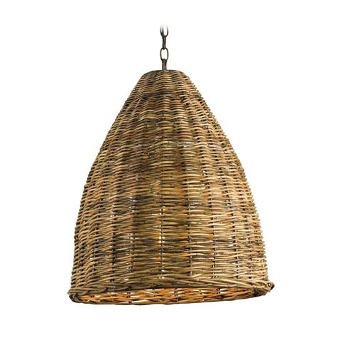 Pendant Light With Brown Wicker Shade In Natural Finish Wicker Lights