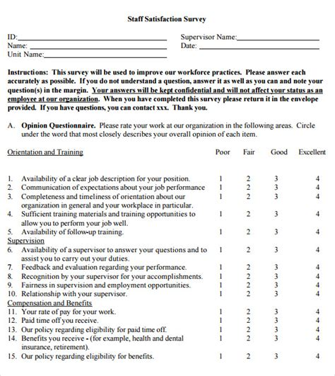 satisfaction survey template free employee satisfaction survey 8 free documents