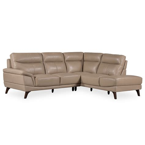 Sofa Leg Corner by Watham Right Corner Sofa In Taupe Faux Leather With Wooden