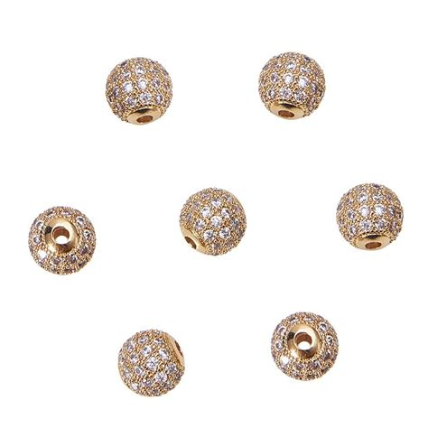 nbeads 10pcs 8mm brass clear gemstones cubic zirconia cz stones pave micro setting disco