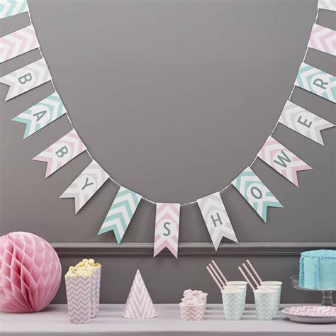 Baby Shower Hanging Decorations by Baby Shower Chevron Bunting Hanging Decoration By