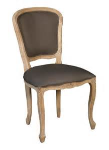 chaise louis xv en chne huil et tissu brun chanvre
