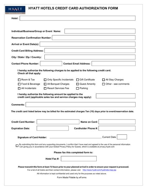 credit card authorization form template for hotel free hyatt credit card authorization form pdf eforms