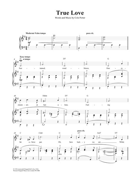 True Love sheet music by Cole Porter (Piano, Vocal