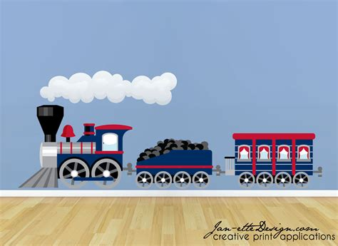 Large Childrens Wall Stickers train wall sticker large blue train wall decal train wall