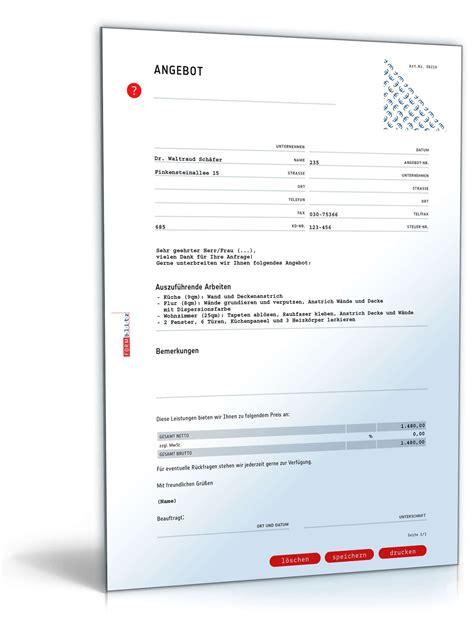 Angebot Muster Vorlagen angebot maler pauschal muster vorlage zum