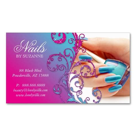 nail business cards templates nail salon business card glitter blue pink nail salons
