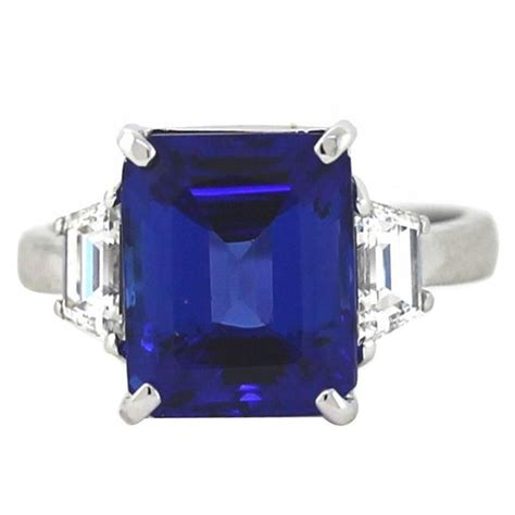 emerald cut tanzanite trapezoid platinum ring for