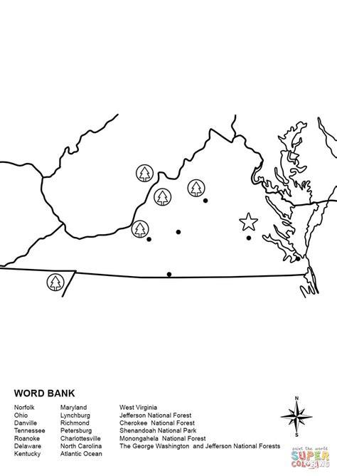 printable coloring pages virina virginia map worksheet coloring page free printable