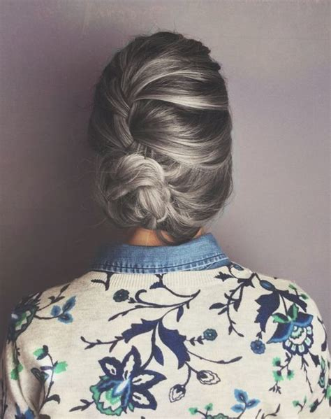 gray hair braid styles the pursuit aesthetic hair pinterest beautiful