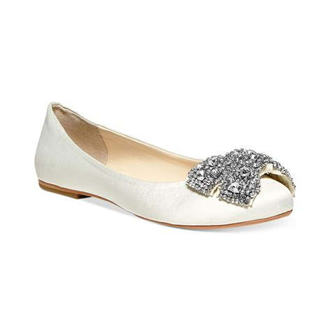 betsey johnson flat shoes betsey johnson blue by bow ballet flats in white lyst