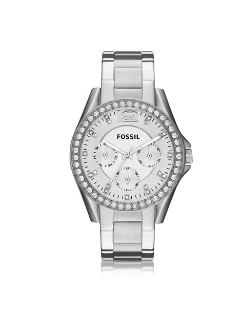 fossil multifunction silver stainless steel womens