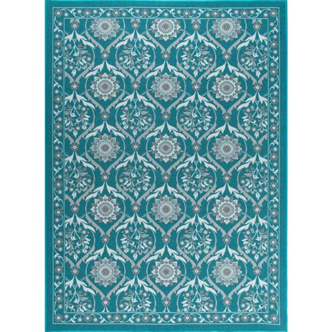 Tayse Rugs Majesty Teal 9 Ft 3 In X 12 Ft 6 In Area Rugs Home Depot 9x12