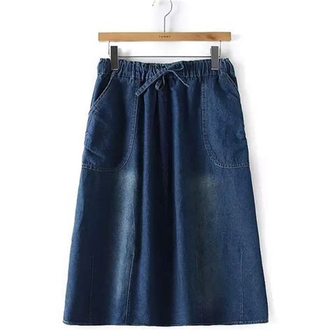 2015 s denim skirt solid color casual
