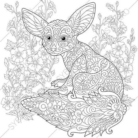 fox coloring page for adults adult coloring pages fennec fox zentangle doodle