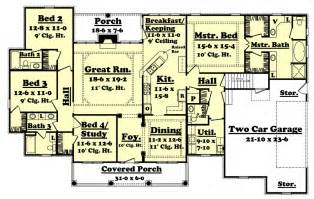 Floor Plans 2500 Square Feet by Colonial Style House Plan 4 Beds 3 5 Baths 2500 Sq Ft