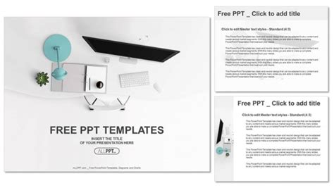 design view powerpoint top view of office supplies on table powerpoint templates
