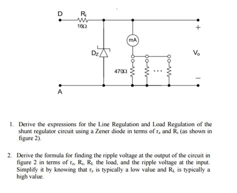 zener diodes formulas derive the expressions for the line regulation and chegg