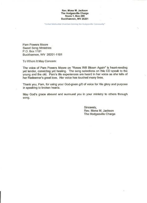 Recommendation Letter For To Minister Letter Of Recommendation From Rev Mona Jackson