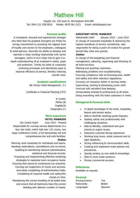 Resume Template Hospitality Manager Exle Of Resume Objective General Platinum Class Limousine