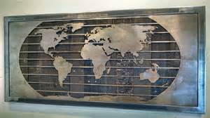 metal world map wall sculpture 3 sizes reclaimed